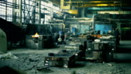 Heavy industry. Workers in old foundry video