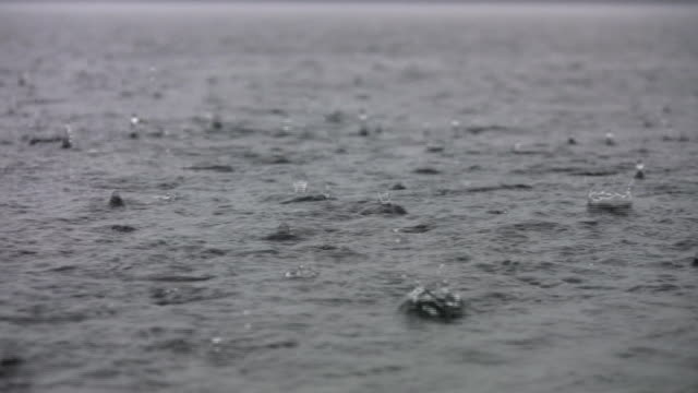 Heavy rain on the lake. w/ sound of thunder. video