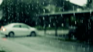 Heavy rainfall droplet pouring rain bad rainy weather day, Slow motion video