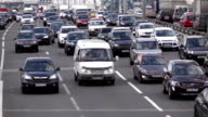 Heavy Rush Hour Traffic In Moscow, crowded driveway video
