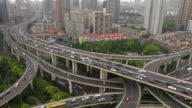 Heavy traffic in Shanghai business district video