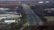 Heavy Traffic On Delaware Turnpike  - Aerial View - Delaware,  New Castle County,  United States video