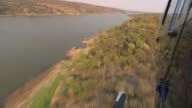 Helicopter aerial over water. HQ 4:2:2 video