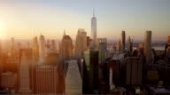 helicopter aerial shot of new york city skyline landmark scenery. high rise real estate buildings video