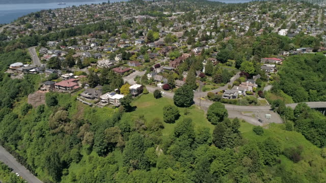 Helicopter Aerial View on Sunny Day in Magnolia Neighborhood of Seattle, Washington video