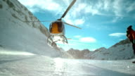 SLO MO LD Helicopter hovering above the icy ground video