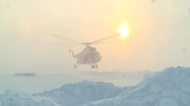 Helicopter MI-8 take to the skies in the far north. video