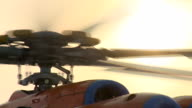 Helicopter MI-8 warm up the engines before flying to the North pole. video