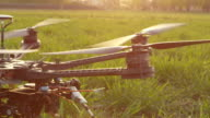 SLOW MOTION CLOSE-UP: RC helicopter rising up video