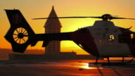 Helicopter Starting Sunset video
