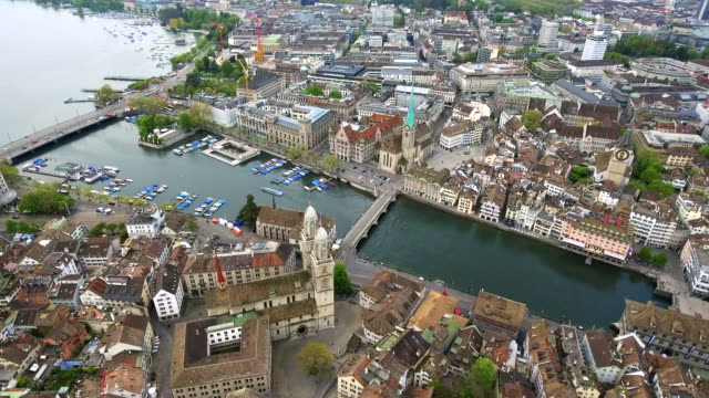 Helicopter View Aerial Video of Zurich Landmarks in City Center Town Hall video