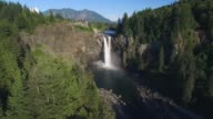 Helicopter View of Snoqualmie Falls, Washington on Sunny Day with Mount Si in Distance video