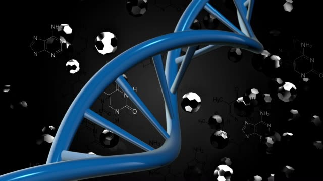 DNA helix in blue on black video