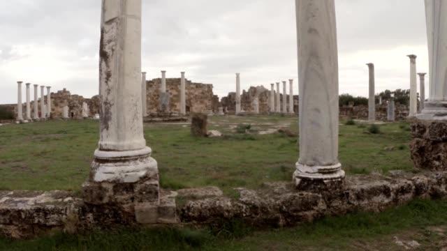 Hellenistic agora white antique columns ancient town Salamis east Cyprus Famagusta video