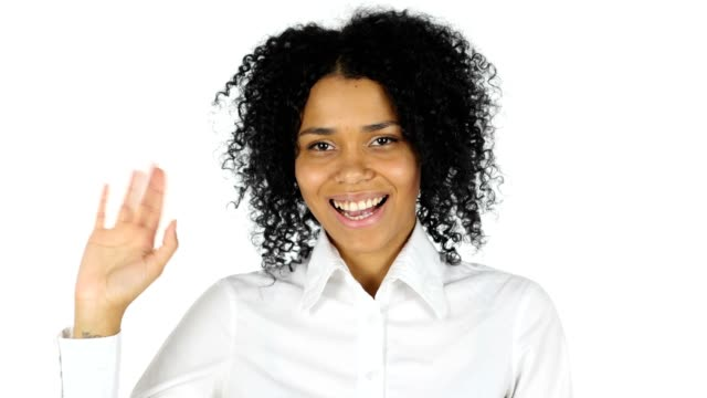Hello Gesture by Black Woman, Waving Hand video