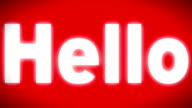 'Hello' sign on the red screen video