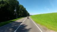 POV Helmet camera motorcycle ride by Dutch country side video