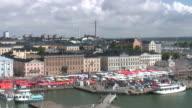 Helsinki harbor and market square (timelapse) video