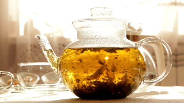 Herbal Tea in clear glass teapot video