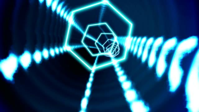 Hexagon blue vortex design on black video