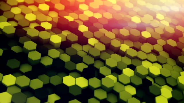 Hexagons waving 3D render loopable animation video