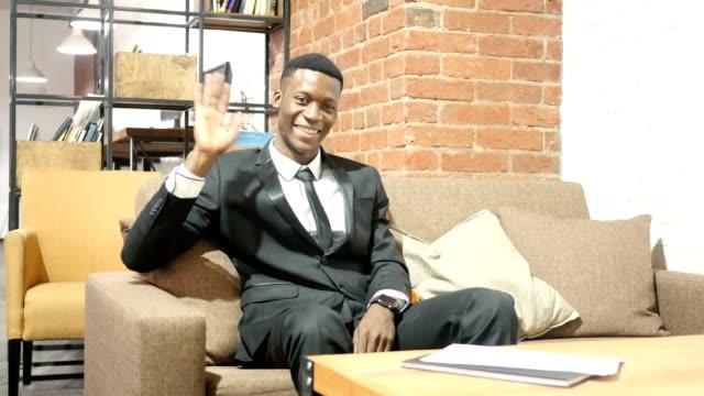 Hi, Hello, Businessman Waving Hand, Welcome , Portrait video