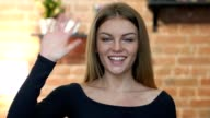 Hi, Hello, Waving Hand by Young Girl, Portrait video