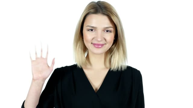 Hi, Hello,  Young Woman Waving Hand,  White Background video