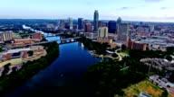 High Above Austin Texas Calm Tranquil Morning Sunrise an empty lake blue paradise Cityscape Skyline Perfection 4K video