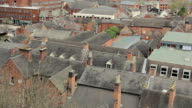 High Aerial shot - tiled rooftops, redbrick chimneys - Tamworth video