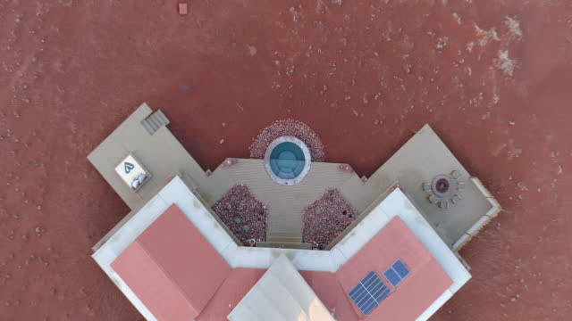 High aerial view luxury accommodation at Wolwedans,Namibia video
