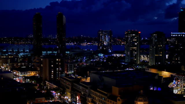 High Angle Aerial View of San Diego Skyline at Nighttime video