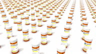 High angle arc pull back revealing endless Pill Bottles video