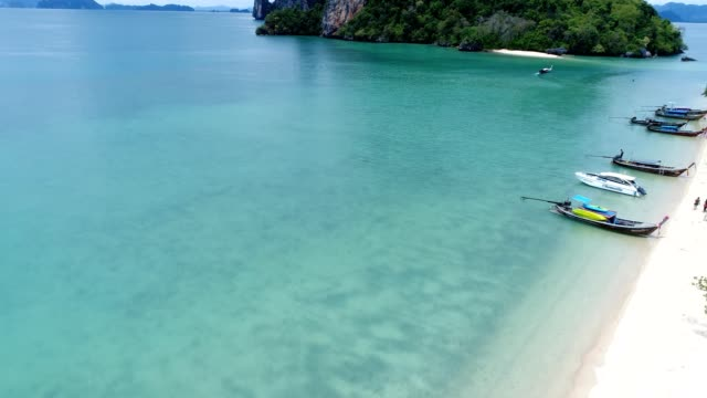 High angle drone shot of island archipelago in Thailand video