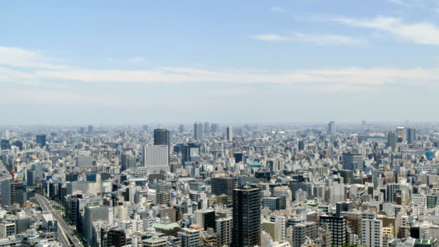 High angle timelapse of northeastern Tokyo cityscape in summer skies. video