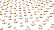 High angle up from single Pill Bottle revealing many Bottles video