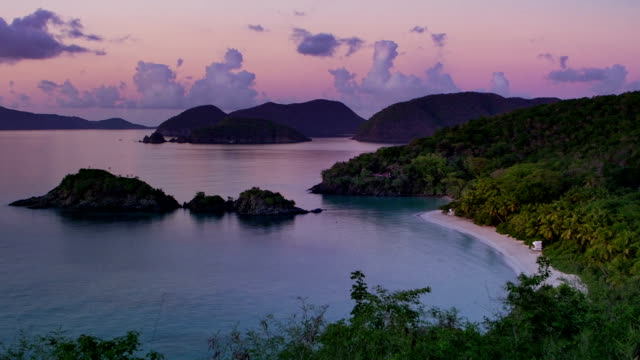 high angle video of Trunk Bay, St.John, USVI during sunset video
