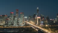 T/L WS HA ZI High Angle View of Beijing Skyline at Night / Beijing, China video