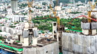 High Angle View of Construction Site in city,Panning shot video