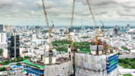 High Angle View of Construction Site in city,Time lapse video