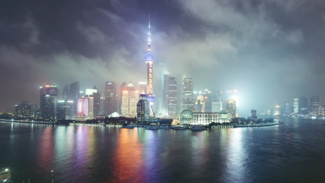 T/L WS HA TU High Angle View of  Downtown Shanghai at Night / Shanghai, China video