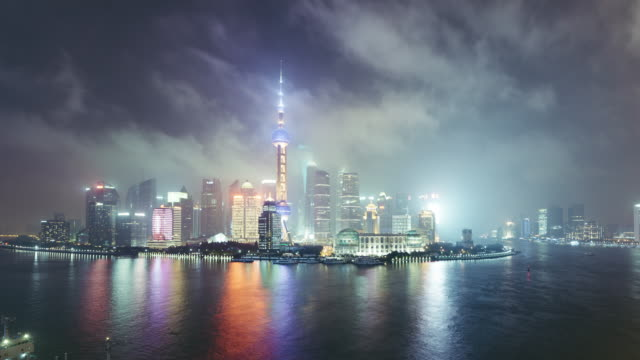 T/L WS HA ZI High Angle View of  Downtown Shanghai at Night / Shanghai, China video