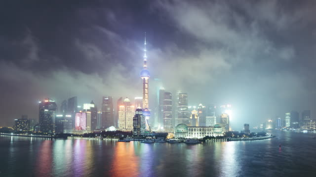 T/L WS HA TD High Angle View of Downtown Shanghai at Night / Shanghai, China video