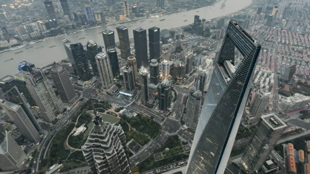 T/L WS HA TU High Angle View of Downtown Shanghai, Day to Dusk Transition / Shanghai, China video