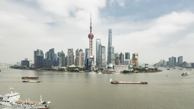 T/L WS HA PAN High Angle View of Downtown Shanghai / Shanghai, China video