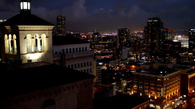 High Angle View of San Diego Skyline at Nighttime video
