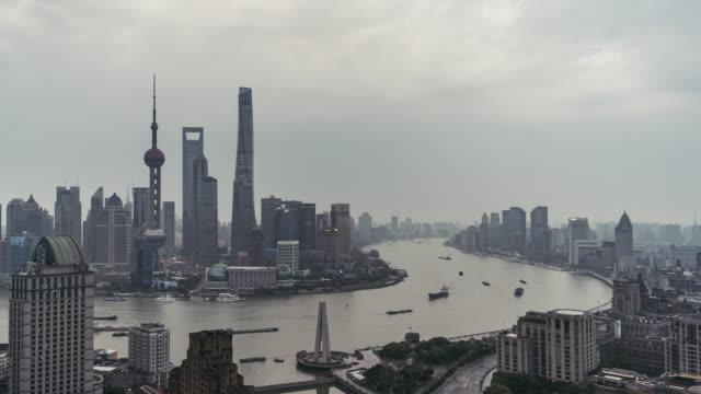 T/L WS HA PAN High Angle View of The Bund / Shanghai, China video