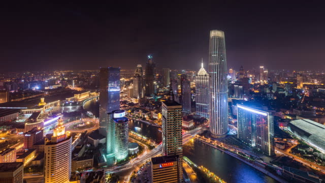 T/L WS HA TU High angle view of Tianjin Skyline at Night / Tianjin, China video