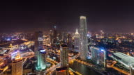 T/L WS HA PAN High angle view of Tianjin Skyline at Night video