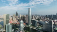 T/L WS HA PAN High angle view of Tianjin Skyline video